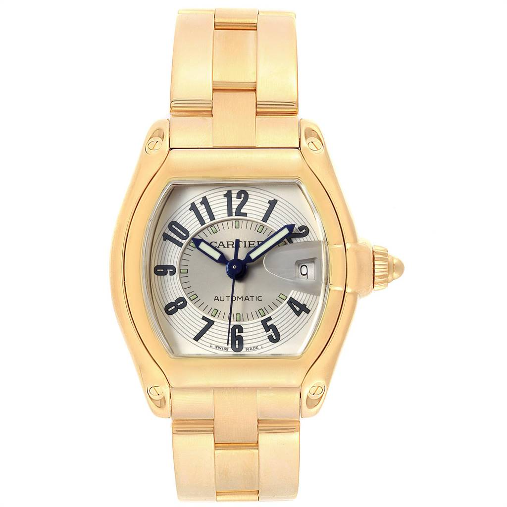 24647 Cartier Roadster 18K Yellow Gold Large Mens Watch W62005V1 SwissWatchExpo