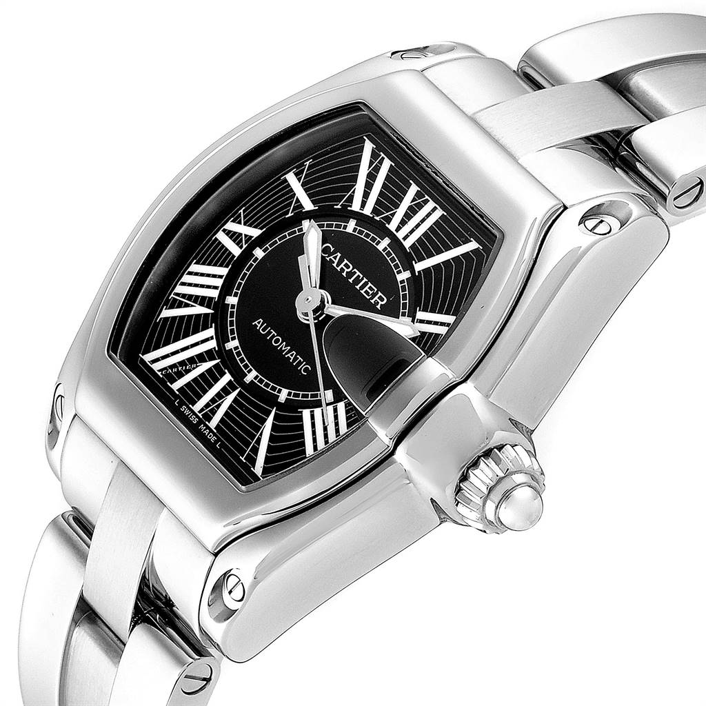 24483 Cartier Roadster Black Dial Large Steel Mens Watch W62041V3 Box SwissWatchExpo