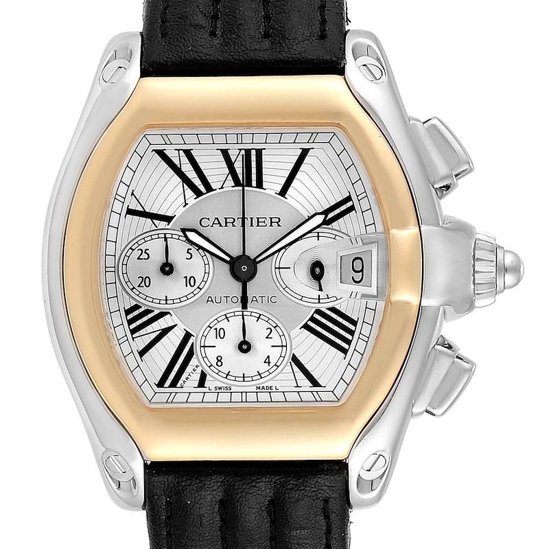 Cartier Roadster Chronograph Mens Steel Yellow Gold Watch W62027Z1 SwissWatchExpo