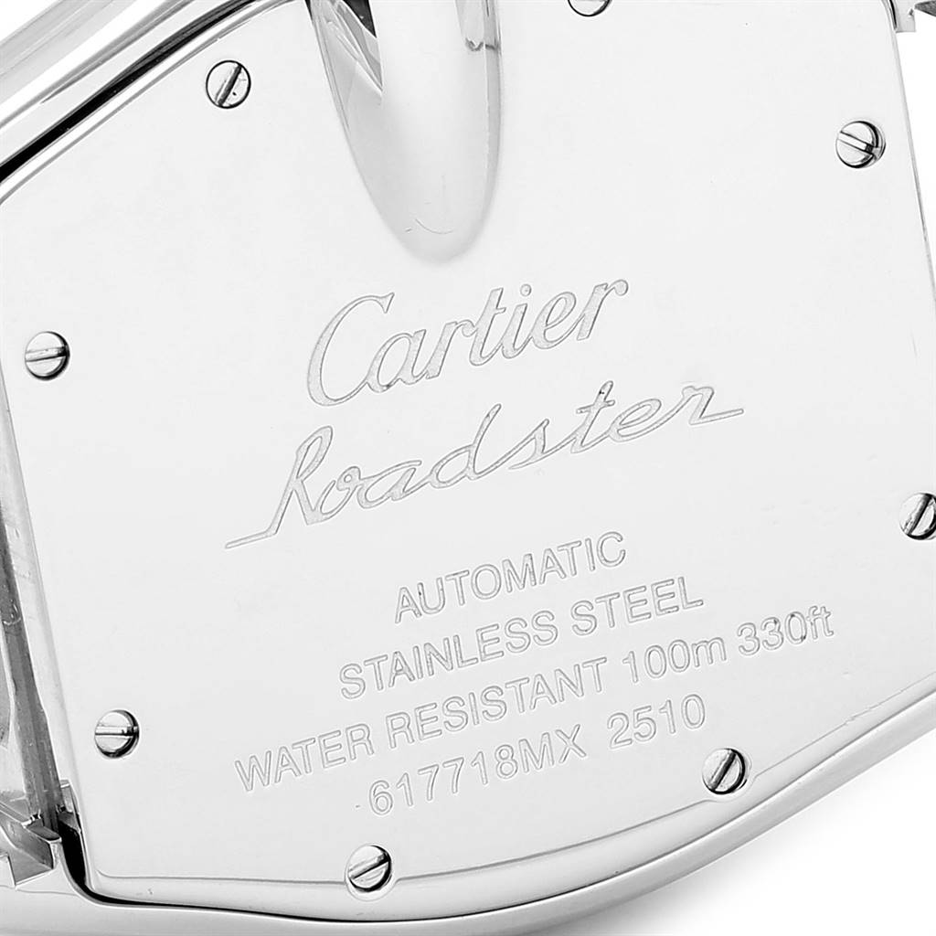 24469 Cartier Roadster Black Dial Large Steel Mens Watch W62041V3 Box SwissWatchExpo