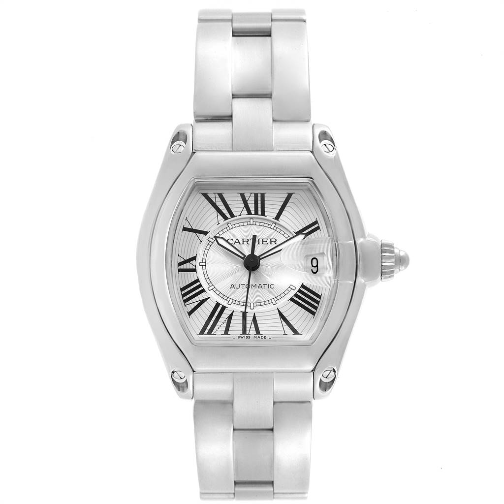 23287 Cartier Roadster Silver Dial Large Steel Mens Watch W62025V3 SwissWatchExpo