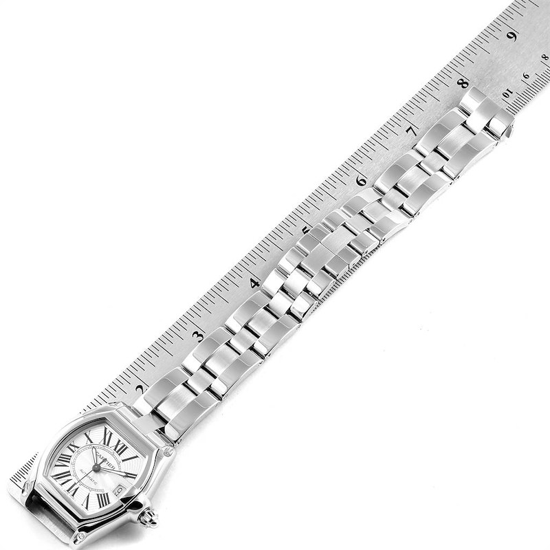 Cartier Roadster Silver Dial Large Steel Mens Watch W62025V3 SwissWatchExpo