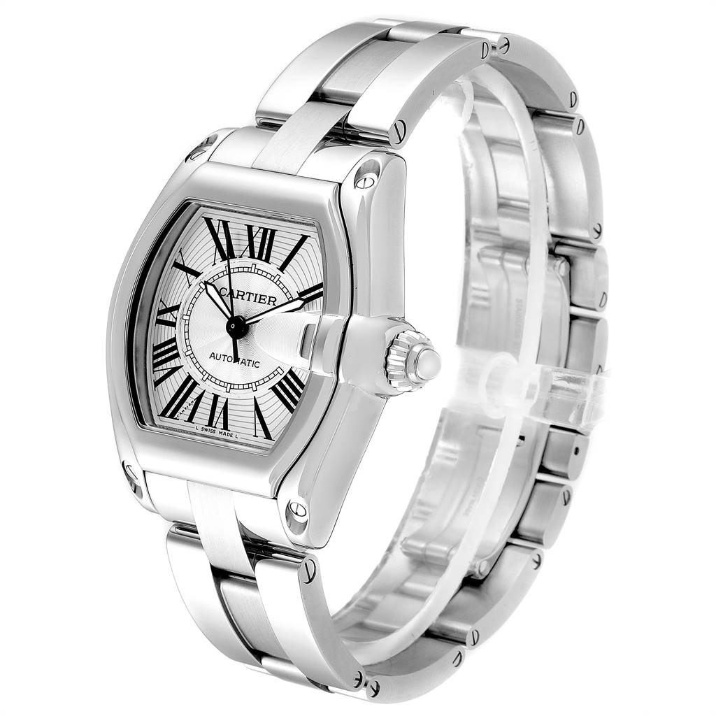 24561 Cartier Roadster Silver Dial Large Steel Mens Watch W62025V3 SwissWatchExpo