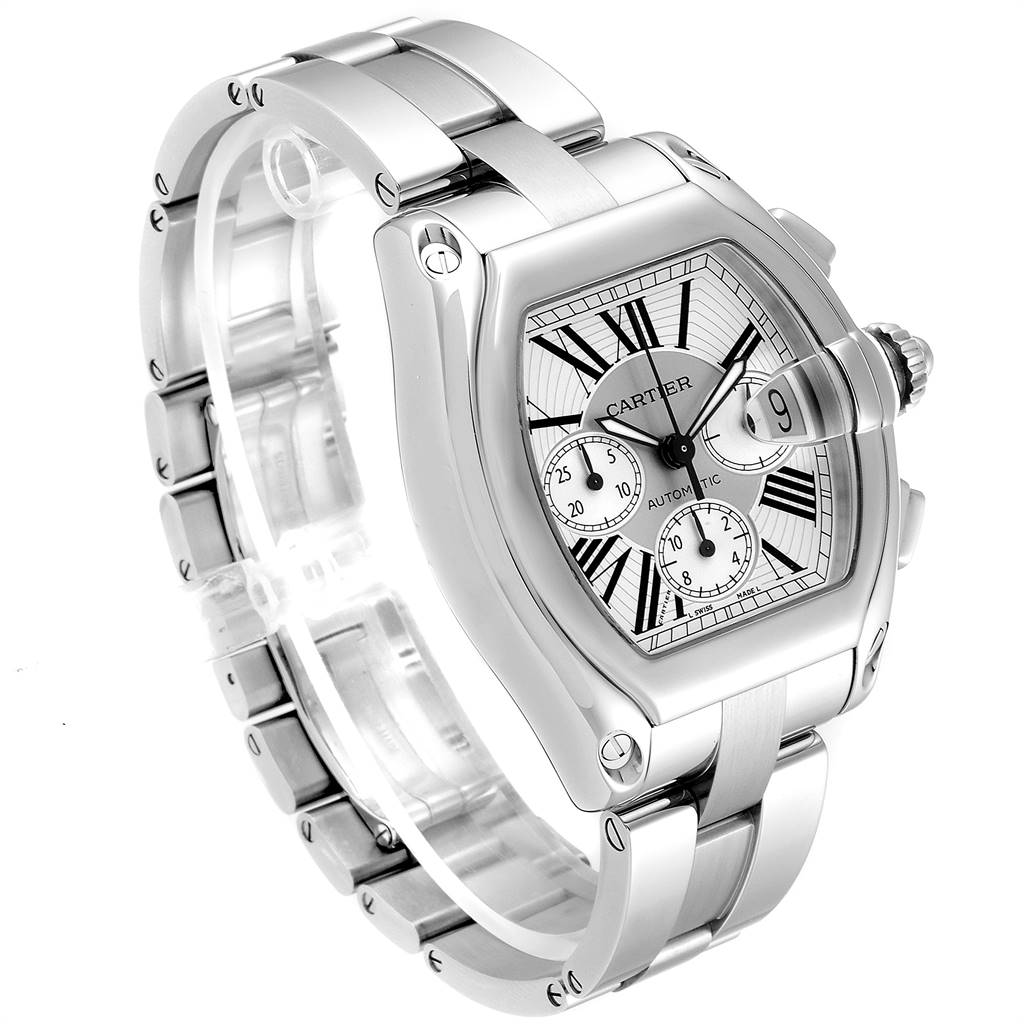 23301 Cartier Roadster XL Chronograph Automatic Mens Watch W62019X6 Box SwissWatchExpo