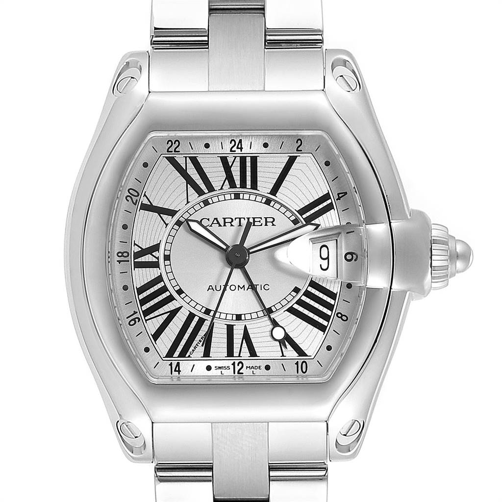 14112 Cartier Roadster GMT Silver Dial Stainless Steel Mens Watch W62032X6 SwissWatchExpo