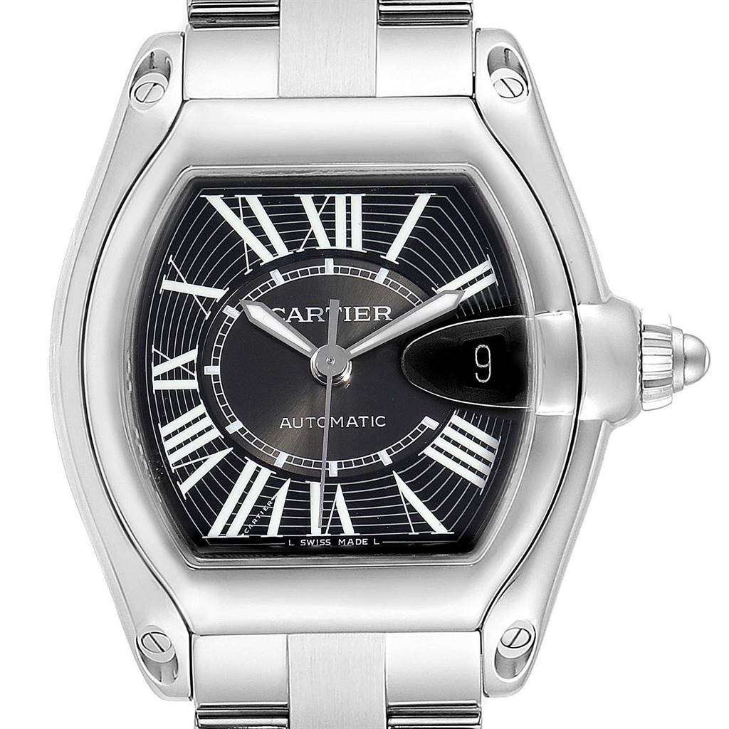 25310 Cartier Roadster Black Dial Large Steel Mens Watch W62041V3 Box SwissWatchExpo