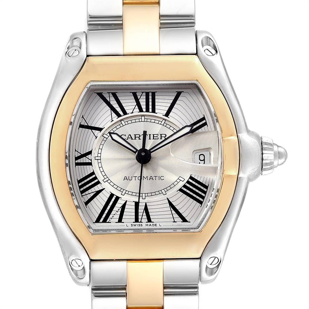 25277 Cartier Roadster Yellow Gold Steel Automatic Mens Watch W62031Y4 Box SwissWatchExpo