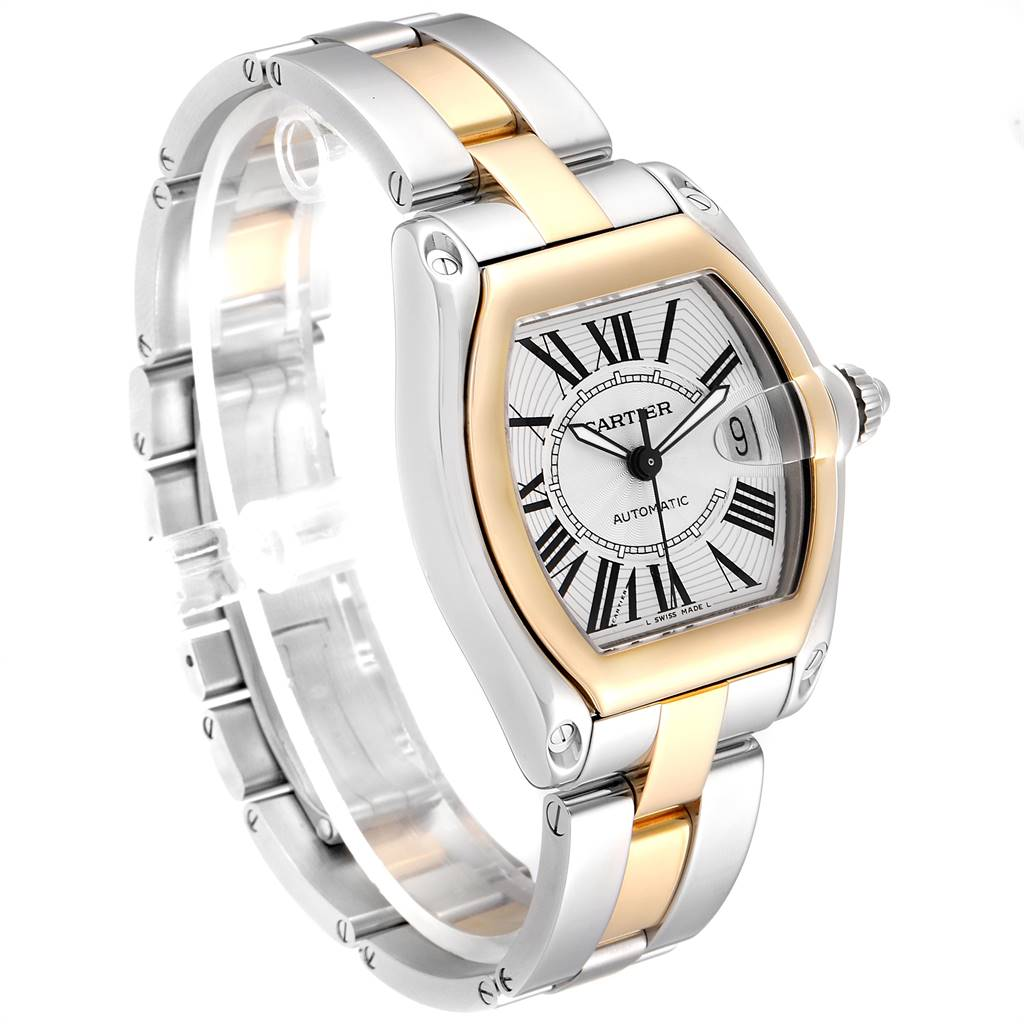 25278 Cartier Roadster Yellow Gold Steel Silver Dial Mens Watch W62031Y4 Box SwissWatchExpo
