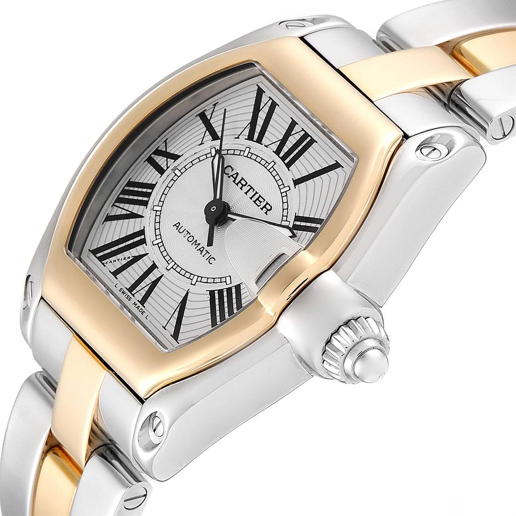 Cartier Roadster Yellow Gold Steel Silver Dial Mens Watch W62031Y4 Box SwissWatchExpo