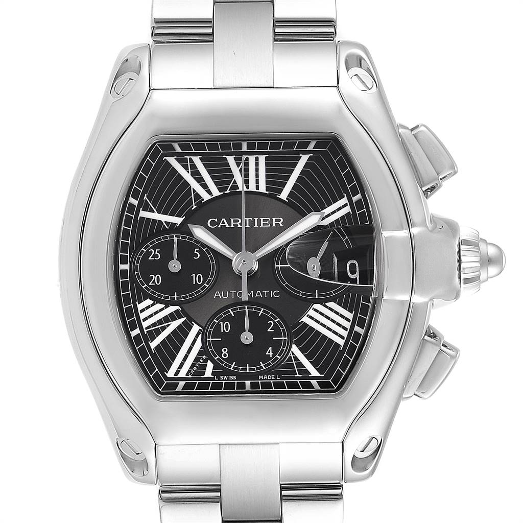8893X Cartier Roadster XL Chrono Black Dial Automatic Mens Watch W62020X6 SwissWatchExpo