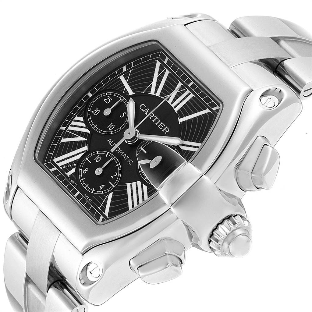 25394 Cartier Roadster XL Chrono Black Dial Automatic Mens Watch W62020X6 SwissWatchExpo