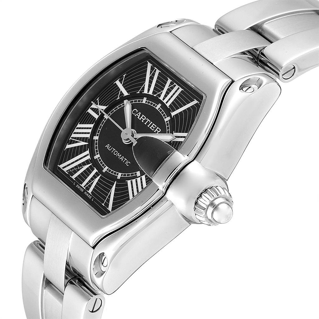 25398 Cartier Roadster Black Dial Large Steel Mens Watch W62041V3 Box SwissWatchExpo