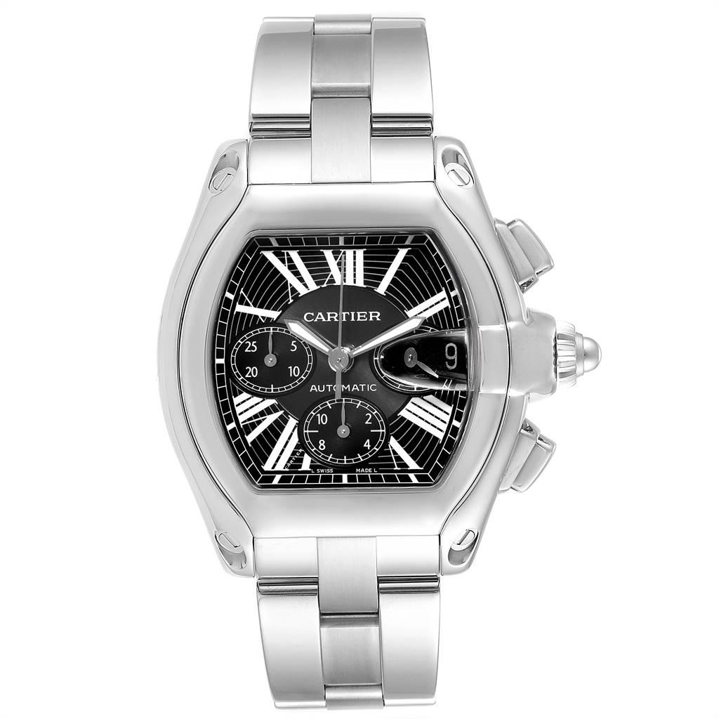25400 Cartier Roadster XL Chrono Black Dial Steel Mens Watch W62020X6 SwissWatchExpo