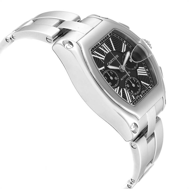Cartier Roadster XL Chrono Black Dial Steel Mens Watch W62020X6 SwissWatchExpo