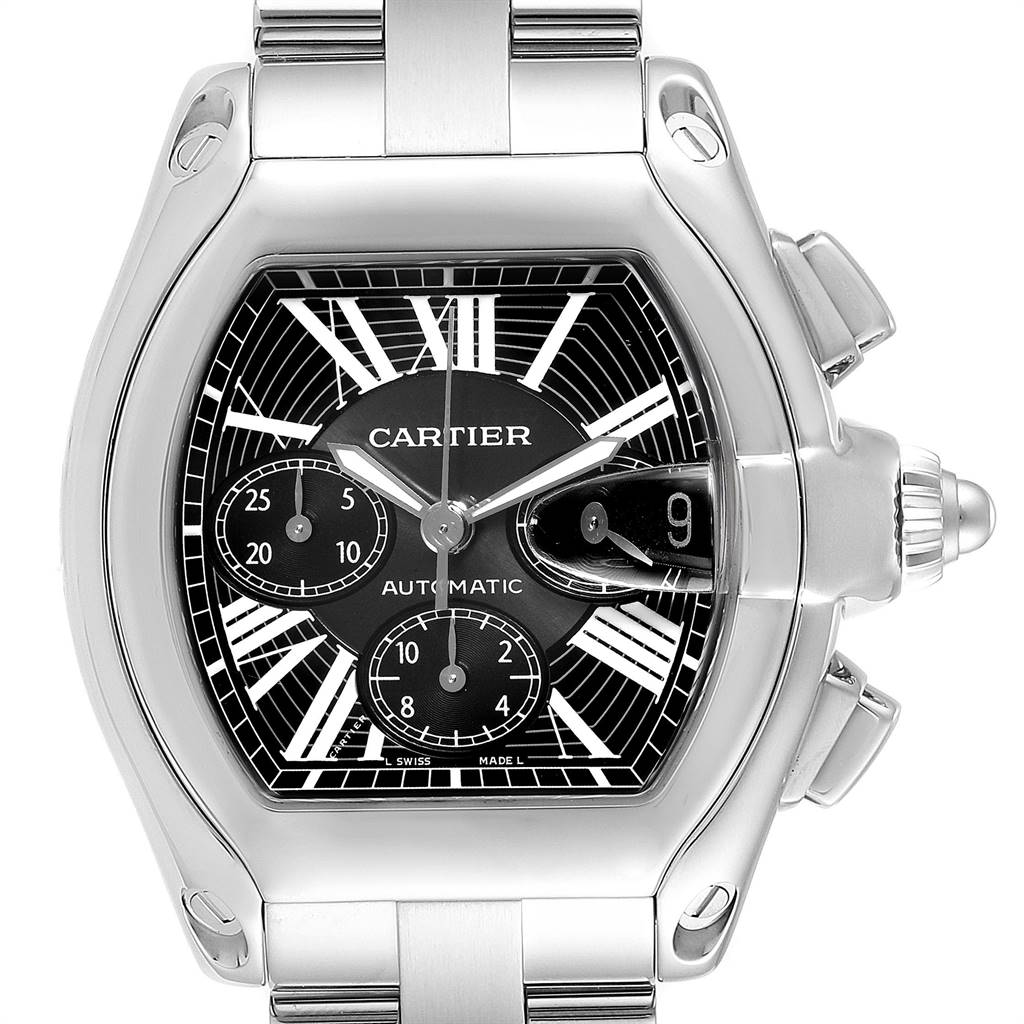 Cartier Roadster XL Chrono Black Dial Steel Mens Watch W62020X6