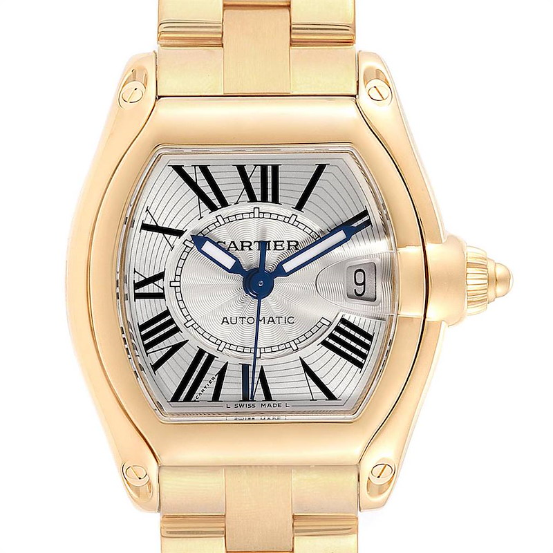 Cartier Roadster Yellow Gold Large Mens Watch W62005V2 Box Papers SwissWatchExpo