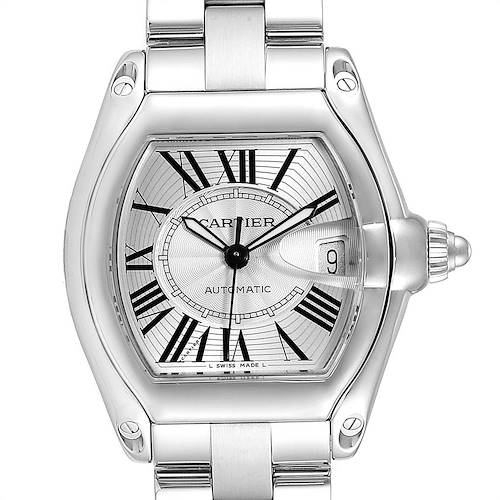 Photo of Cartier Roadster Silver Dial Large Steel Mens Watch W62025V3