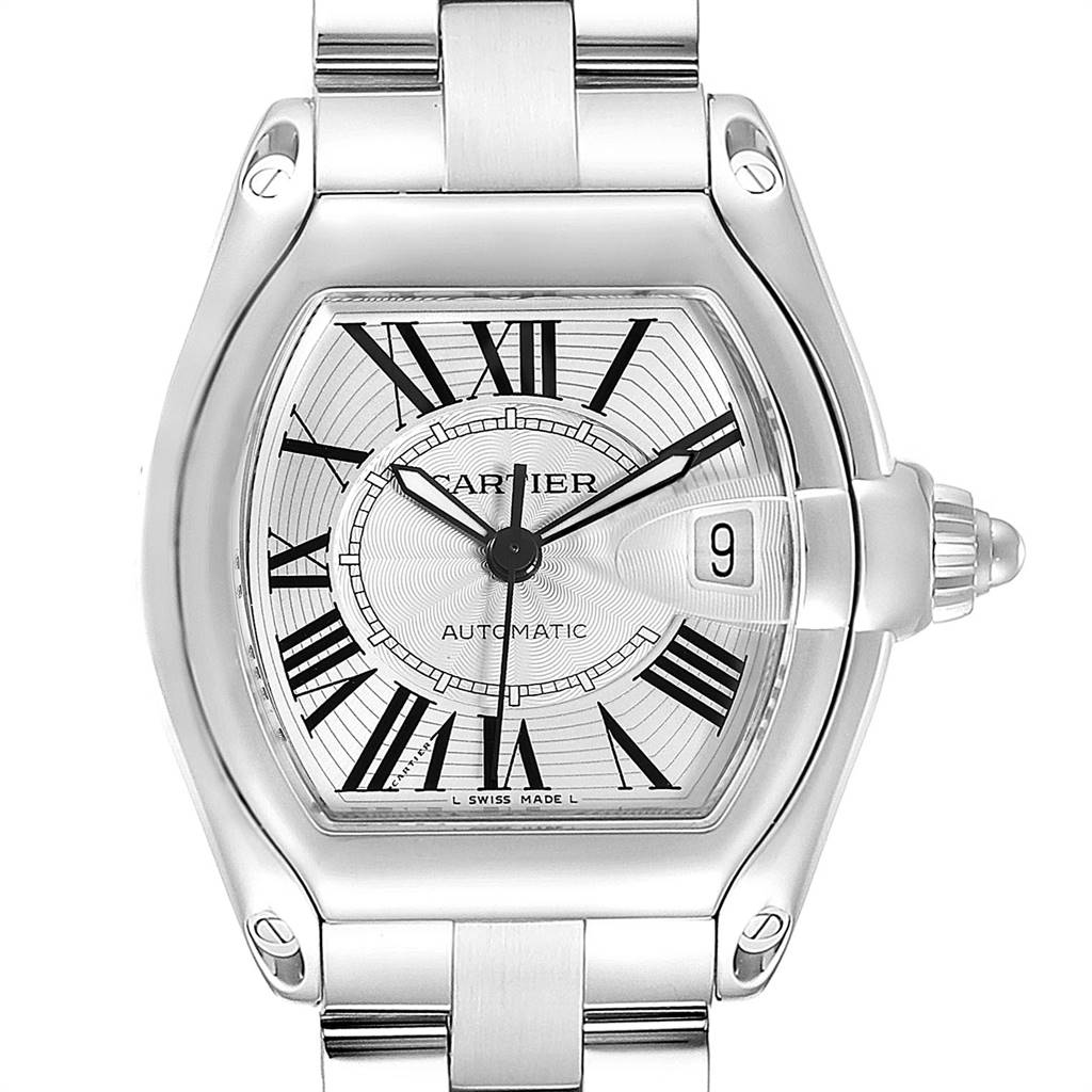 Cartier Roadster Silver Dial Blue Hands Large Steel Mens Watch W62025V3