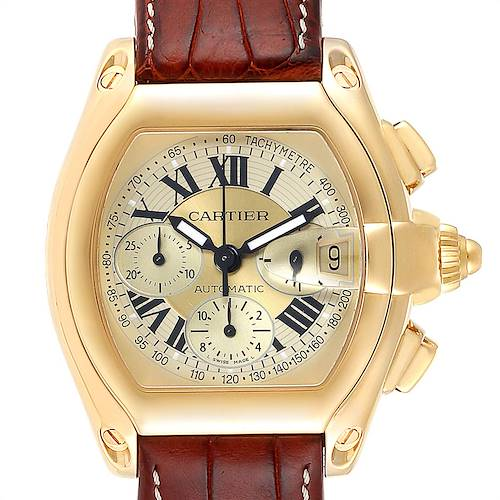 Photo of Cartier Roadster Chronograph XL 18K Yellow Gold Mens Watch W62021Y3