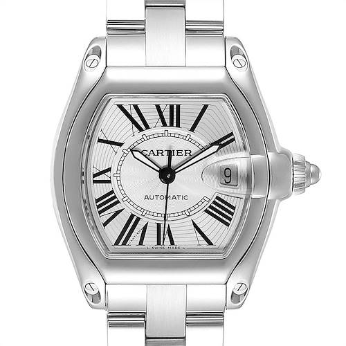 Photo of Cartier Roadster Silver Dial Blue Hands Large Steel Mens Watch W62025V3