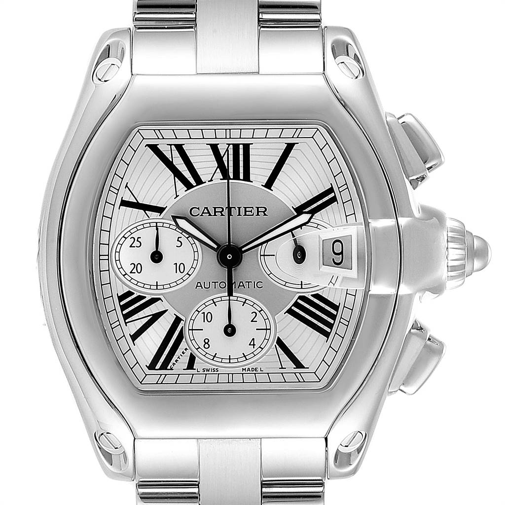 Cartier Roadster XL Chronograph Mens Watch W62019X6 Box Papers Strap