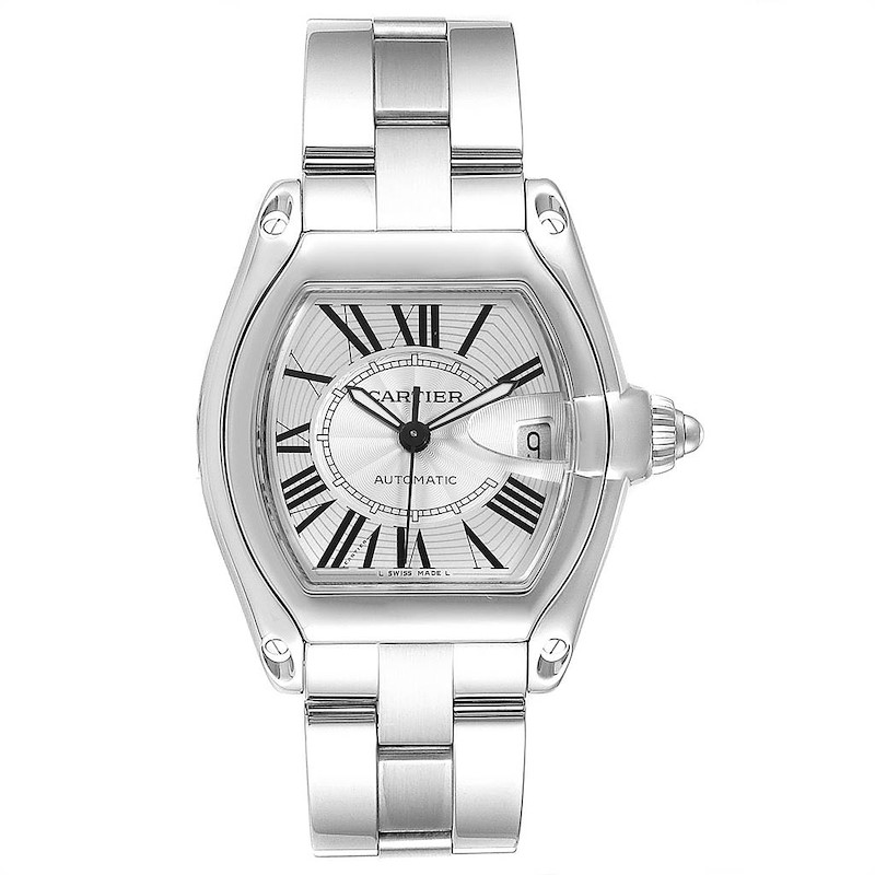 Cartier Roadster Silver Dial Blue Hands Large Steel Mens Watch W62025V3 SwissWatchExpo