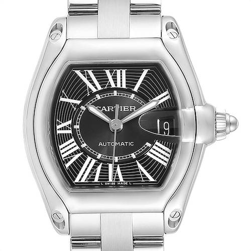 Photo of Cartier Roadster Black Dial Large Steel Mens Watch W62041V3 Box