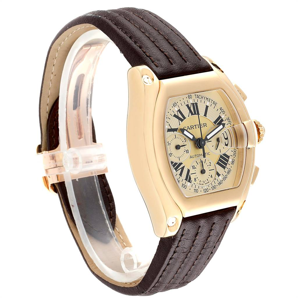 Cartier Roadster Chronograph XL 18K Yellow Gold Mens Watch W62021Y3 SwissWatchExpo