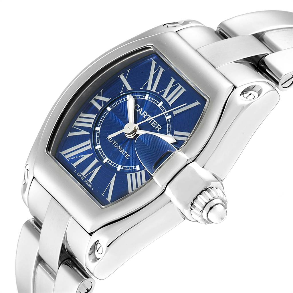 Cartier Roadster Blue Dial Automatic Steel Mens Watch W62048V3 SwissWatchExpo