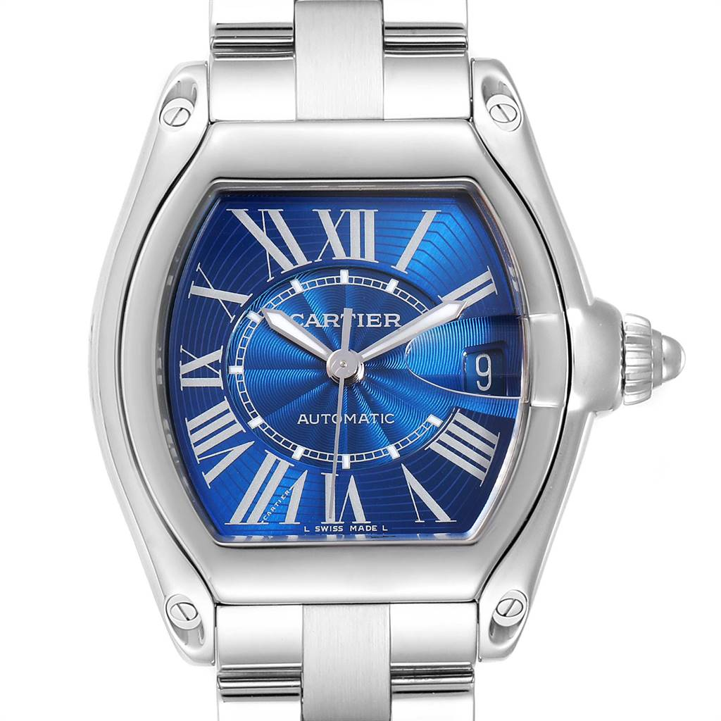 Cartier Roadster Blue Dial Automatic Steel Mens Watch W62048V3