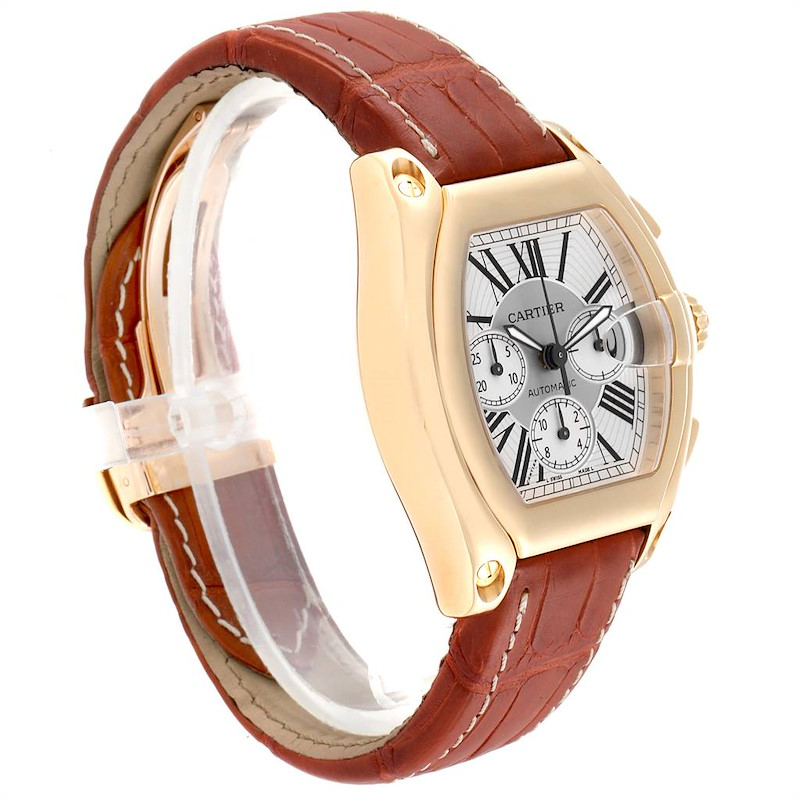 Cartier Roadster Brown Strap Yellow Gold Chronograph Mens Watch W62021Y3 SwissWatchExpo