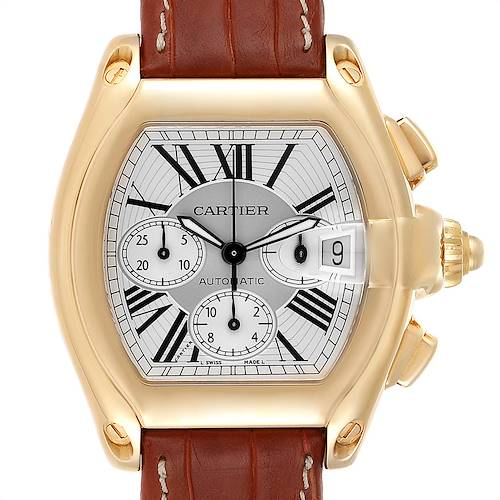 Photo of Cartier Roadster Brown Strap Yellow Gold Chronograph Mens Watch W62021Y3