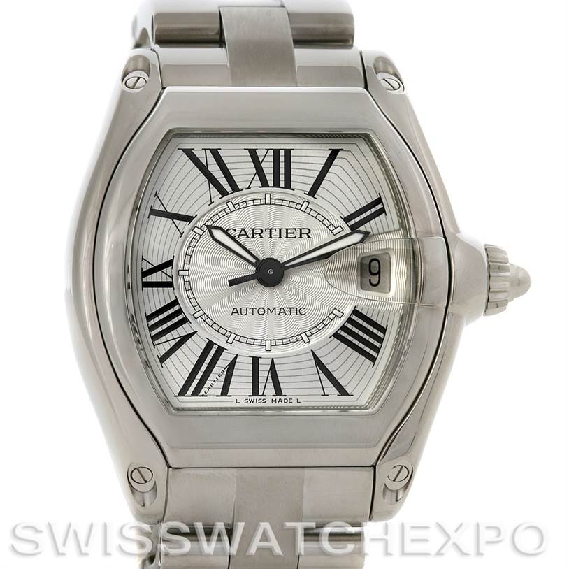 2743 Cartier  Roadster Mens Steel Large Silver Dial W62025V3 SwissWatchExpo