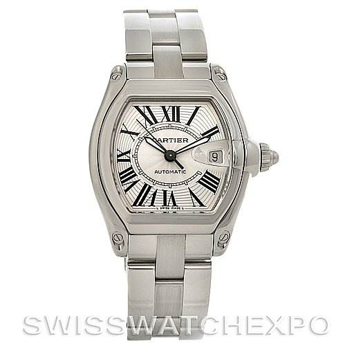 2784 Cartier Roadster Mens Steel Large W62025V3 Box/Papers SwissWatchExpo