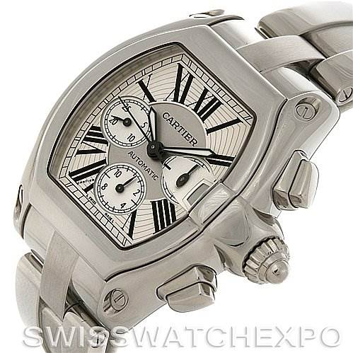 2829 Cartier  Roadster Chronograph Mens W62019X6 Extra Strap SwissWatchExpo