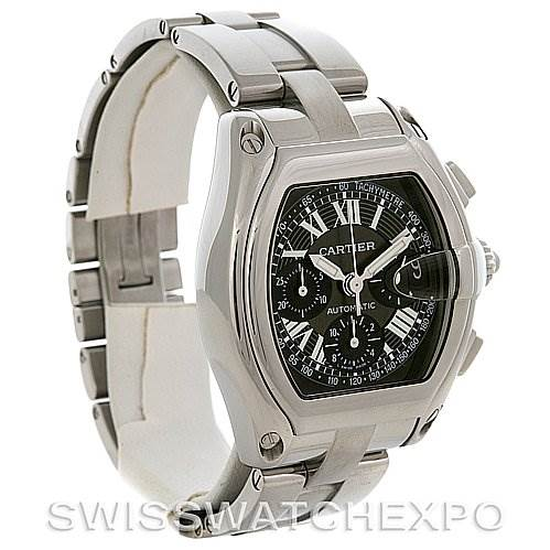 2853 Cartier Roadster Chronograph Mens Black Dial W62020X6 Watch SwissWatchExpo