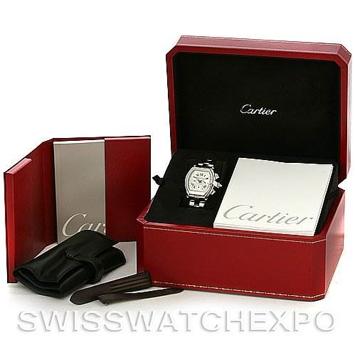 Cartier Roadster Chronograph Mens W62019X6 Watch SwissWatchExpo
