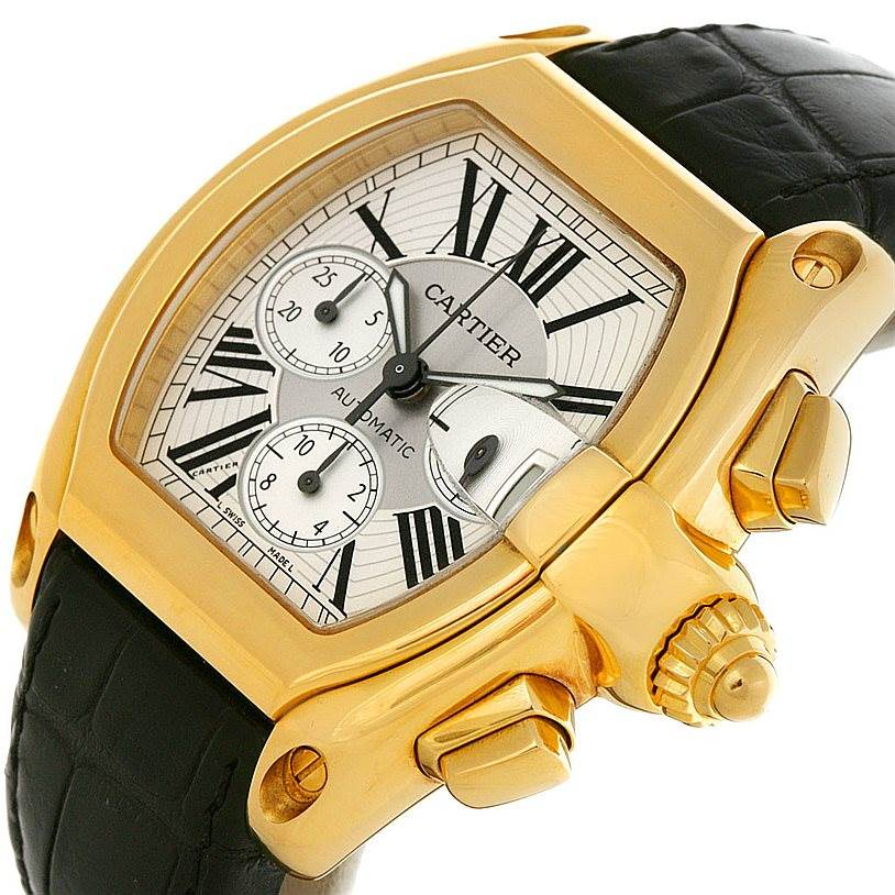 3015 Cartier Roadster Chronograph 18K Yellow Gold W62021Y2 Mens Watch SwissWatchExpo