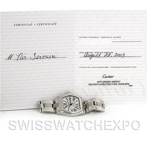 4018 Cartier Roadster Mens Steel Large W62025V3 SwissWatchExpo