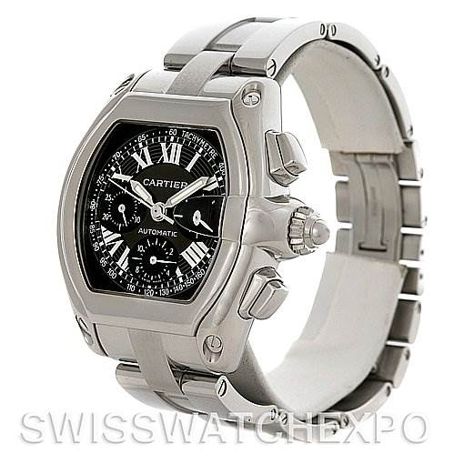 4049 Cartier Roadster Chronograph Mens Black Dial W62020X6 Watch SwissWatchExpo