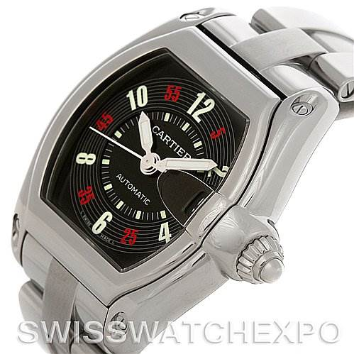 4142 Cartier Roadster Large Mens Steel Black Dial W62002V3 Watch SwissWatchExpo