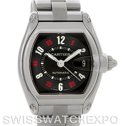 Cartier Roadster Large Mens Steel Black Dial W62002V3 Watch SwissWatchExpo