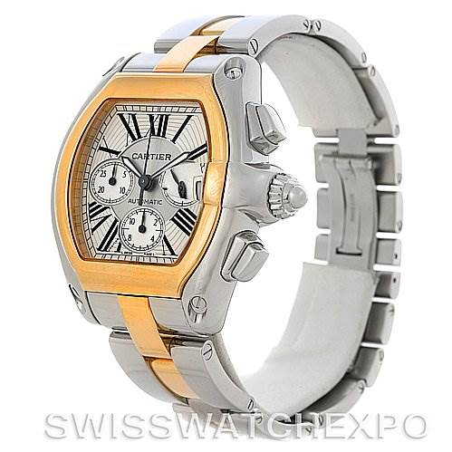 4149 Cartier Roadster Chronograph Mens Steel and Yellow Gold Watch W62027Z1 SwissWatchExpo