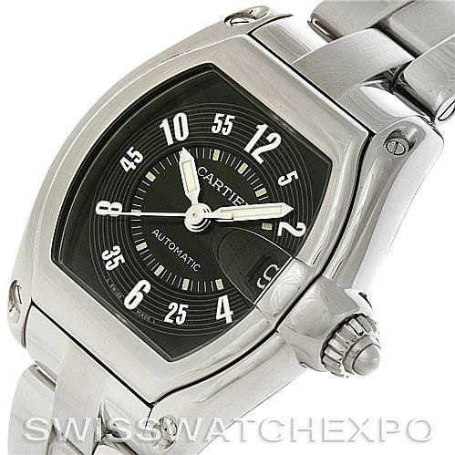 4221 Cartier Roadster Large Mens Steel Black Dial Watch W62004V3 SwissWatchExpo