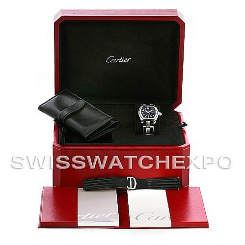 Cartier Roadster Large Mens Steel Black Dial Watch W62004V3 SwissWatchExpo