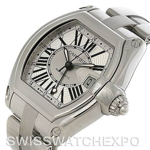 4281 Cartier Roadster Mens X-Large GMT Watch W62032X6 SwissWatchExpo