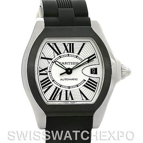 4328 Cartier Roadster Steel Rubber Strap Mens Watch W6206018 SwissWatchExpo