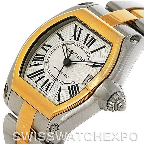 4297 Cartier Roadster 18k Yellow Gold and Steel Mens Watch W62031Y4 SwissWatchExpo