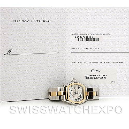 Cartier Roadster 18k Yellow Gold and Steel Mens Watch W62031Y4 SwissWatchExpo