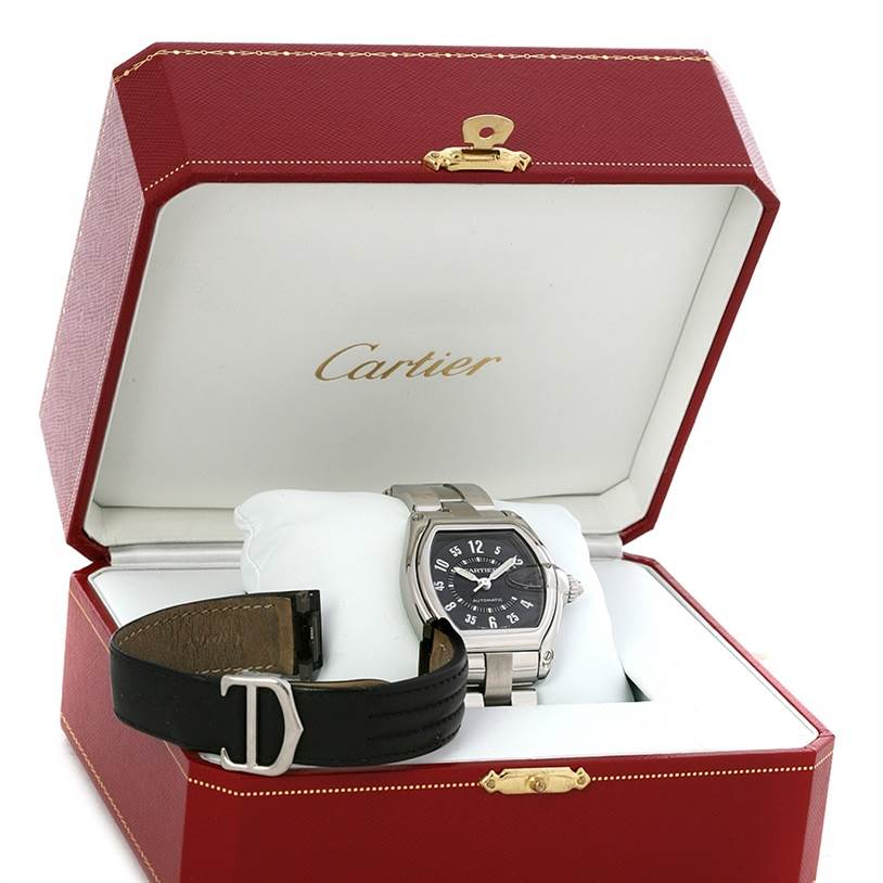 4439 Cartier Roadster Large Mens Steel Black Dial Watch W62004V3 SwissWatchExpo